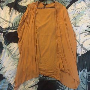 Forever 21 Mustard Longline Kimono Cardigan